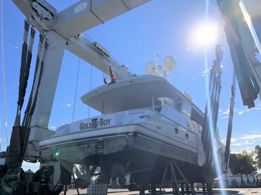 Superyacht out of water
