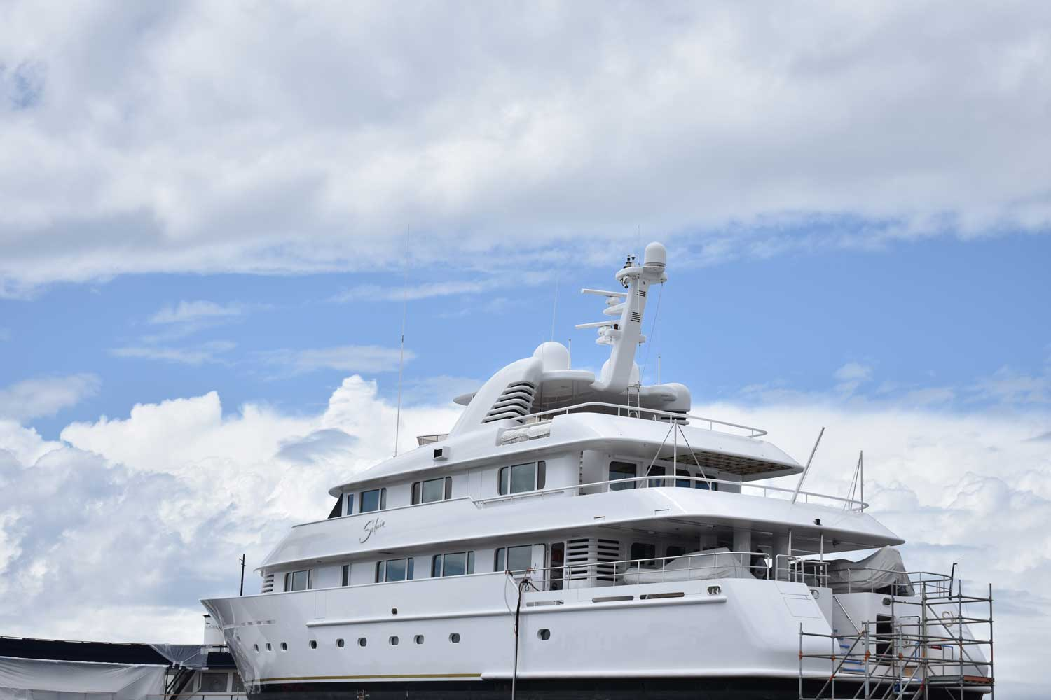 Large white Superyacht